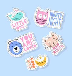 set cute animals stickers pins patches and vector image