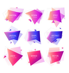 set geometric banner abstract geometric shapes vector image