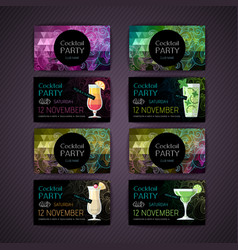 Set of cocktail party card vector