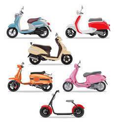 set of colorful moped in flat style side view vector image