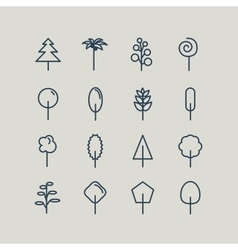 Set of line icons Trees vector image
