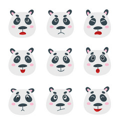 set with sweet panda bear emotion faces vector image