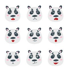Set with sweet panda bear emotion faces vector
