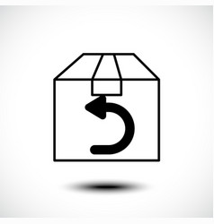 shipping return icon with a box and arrow sign vector image