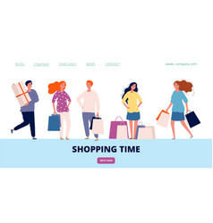 shopping time landing happy customers with vector image