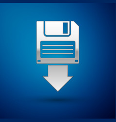 Silver floppy disk backup icon isolated on blue vector