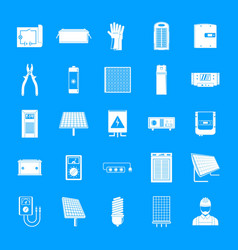solar energy equipment icons set simple style vector image