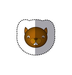 sticker colorful picture face cute squirrel animal vector image