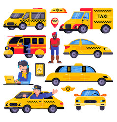 Taxi taxicab transport driver man character vector