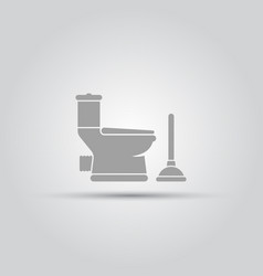 toilet pan and plunger isolated objects vector image