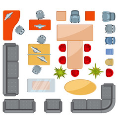 Top View Interior Furniture Icons Flat Vector