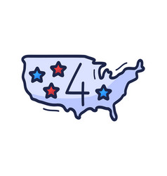 us map icon with number july 4 is drawn by vector image