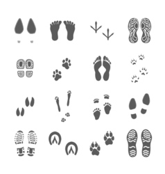 Various Footprints Set Black On White vector image