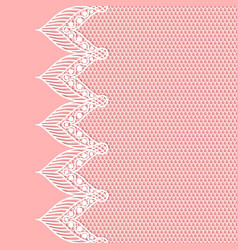 vintage lacy border on pink background vector image