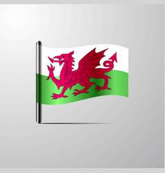 Wales waving shiny flag design vector