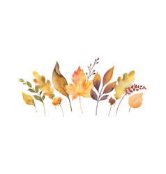 watercolor card with autumn leaves and vector image