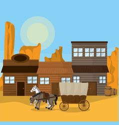Wester hour with horse outside vector