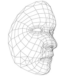 Wire-frame abstract human face vector