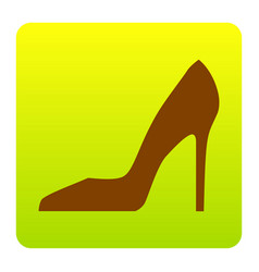 woman shoe sign brown icon at green vector image