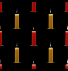 yellow red wax burning candles seamless pattern vector image