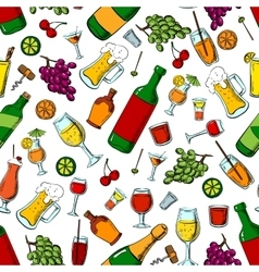 Alcohol drinks and fruits seamless pattern vector image