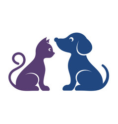 cute cat and dog icons vector image