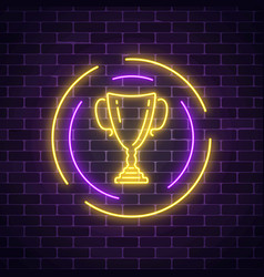Glowing neon sign with award cup in round frame vector