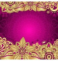Gold-purple vintage frame vector image
