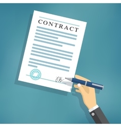 Hand signing contract on white paper vector image vector image
