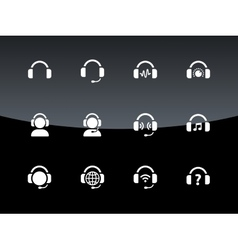 Headphones icons on black background vector image