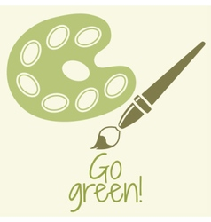 Paint brush with palette Go green vector image