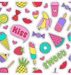seamless pattern with sweet stickers vector image
