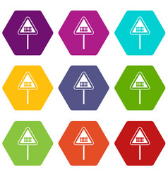 warning road sign icon set color hexahedron vector image