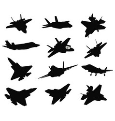 12 military aircrafts set vector image vector image
