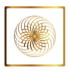 circular pattern geometric icon gold flower vector image vector image