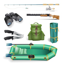 ishing and hunting objects vector image vector image