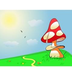Summer landscape mushroom on green field vector