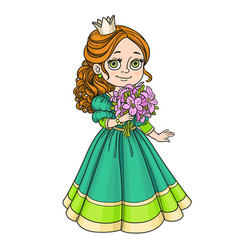 beautiful princess holding bouquet of pink lilies vector image vector image