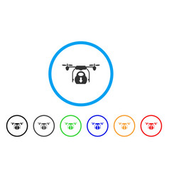 drone drop cargo rounded icon vector image vector image