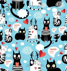 Graphic seamless pattern with hearts in love cats vector image