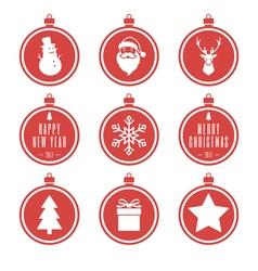 red christmas balls set vector image