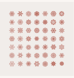 Set of 49 linear snowflakes vintage outlined vector