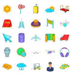 baggage icons set cartoon style vector image