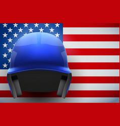 baseball helmet and american flag vector image