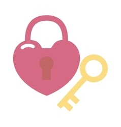 Heart lock and key flat valentine design vector image