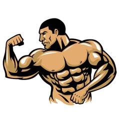 Muscle bodybuilder posing vector