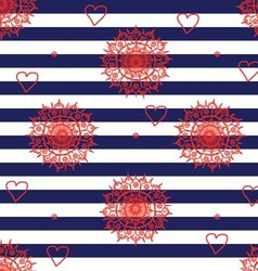 Seamless flower pattern with navy stripes vector image vector image