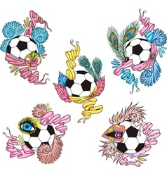 Stylized soccer balls with ribbons vector image vector image