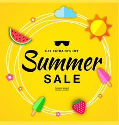 summer sale template flat paper banner vector image