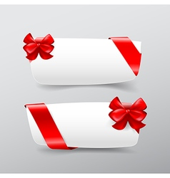 043 Collection of white tag banner with red ribbon vector image